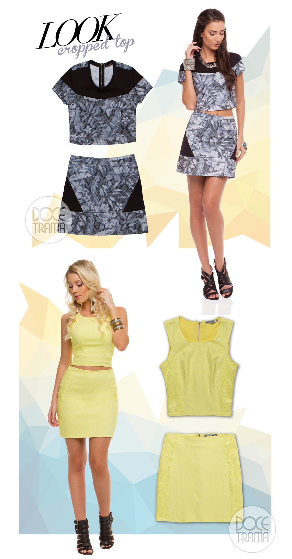 Looks com Cropped Tops - Doce Trama